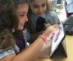 students exploring an app
